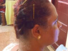 side bun, I look like a Roman matron!!