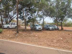 cars from various resorts parked in the groove.