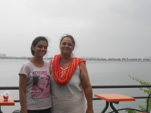 with my daughter at Husainsagar